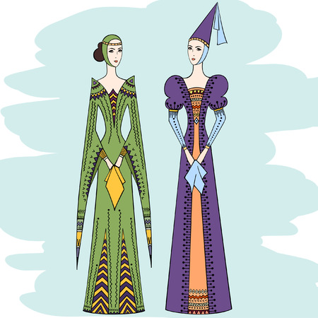 Silhouette of two young girls in medieval dress. Women in costume of Middle Ages. Ladies in vintage clothes.