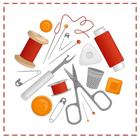 Vector sewing tools in the shape of a circle. Kit for needlework and embroidery. Illustration with needle, thread, scissors, buttons, pin, spool, chalk, thimble.
