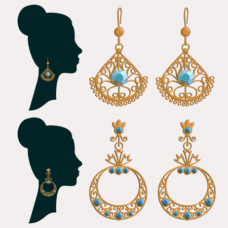 earrings: Vector illustration of silhouette of a Women in earrings. set of gold earrings with gemstones. Illustration