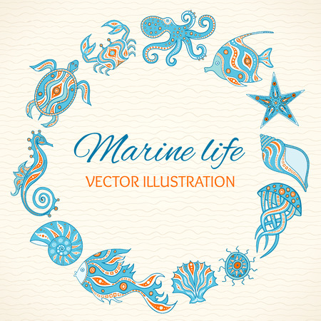 Set of cartoon sea life. Round frame of sea animals, shells, fish, octopus, crab, turtle, starfish, sea horse, jellyfish, sea urchin. Vector illustration. Hand drawing marine life for your design. 向量圖像