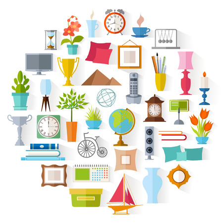 living thing: The set of home decor. Accessories, icons and souvenirs in a flat style isolated on white background.