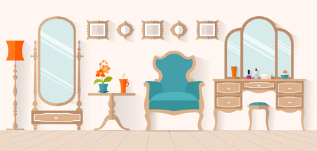 The interior of the dressing room with furniture in flat style. Interior design with a dressing table and mirror. Boudoir for a woman. Stock Illustratie