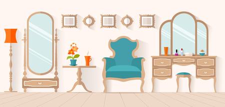 La interrelación del vestidor con muebles de estilo plano. diseño Inter con un tocador y un espejo. Boudoir para una mujer. Ilustración de vector