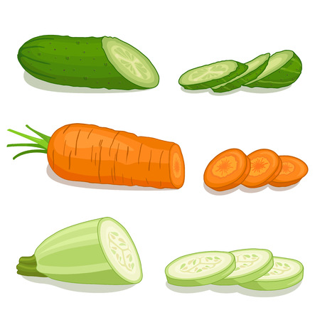 chopped: Set chopped vegetables isolated on white background. Cut circles of cucumber, carrot, zucchini.