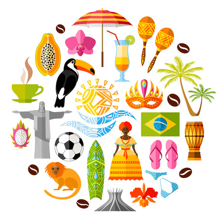 Symboles nationaux traditionnels du Brésil. Ensemble d'icônes brésiliennes. illustration dans le style plat. Collection de souvenirs, des attributs et des éléments de conception sur des thèmes brésiliens. Banque d'images - 57885031