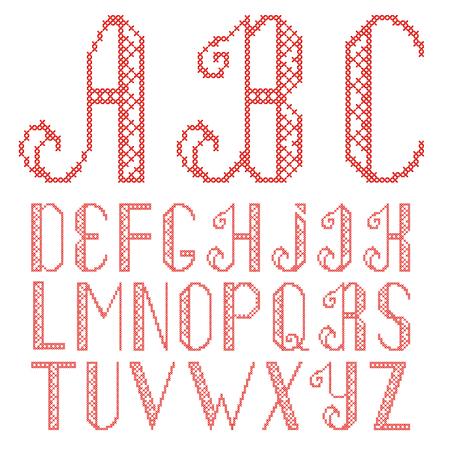ściegiem krzyżykowym alfabetu na białym tle. Litery są haftowane czerwoną nicią. Ilustracje wektorowe