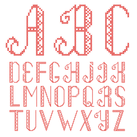 cross stitch alphabet isolated on white background. The letters are embroidered with red thread.
