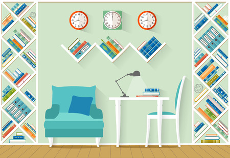 home office interior: Interior design with furniture, shelves, books in flat style. The office, home library, study room. Illustration