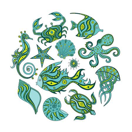 漫画の海洋動物のセットです。手図面海洋生物。海の動物、海の馬、魚、貝、カニ、カメ、クラゲ、ヒトデ、ウニ、タコ イラストのラウンド フレー