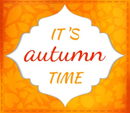falling leaves: Autumn with space for text. seasonal card with orange falling leaves. The blank for postcard,  invitations.