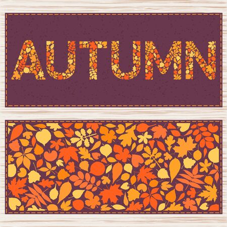 Autumn card. Creative templates with different leaves. Can be used for invitation, poster, postcard, placard