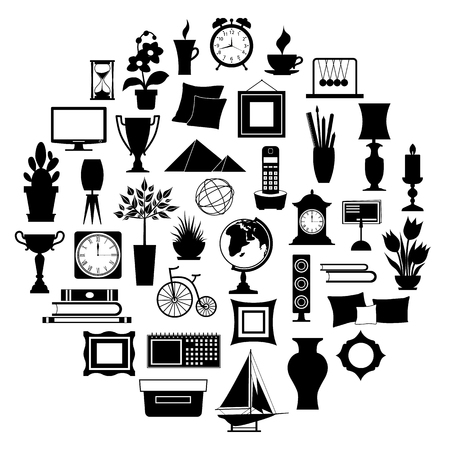 Silhouette of home decor. Set of accessories, icons and souvenirs isolated on white background. illustration. Elements of interior design. Stock Illustratie