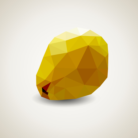 Low poly quince. illustration. Origami fruit. Polygonal style Illustration