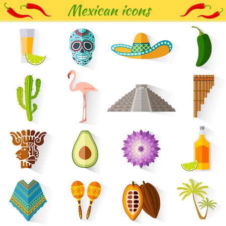 Ensemble de voyage icônes mexicaines. Collection de symboles célèbres et des éléments de design dans le style mexicain.