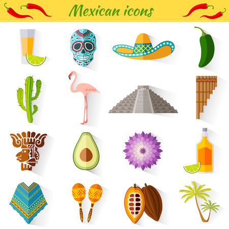 Set of travel Mexican icons. Collection of famous symbols and design elements in Mexican style.