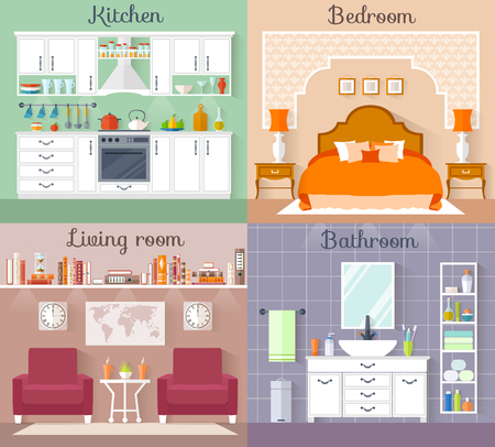 interior design home: Set of interiors with furniture and equipment. Design a living room, kitchen, bathroom, bedroom. Flat style interior concept.
