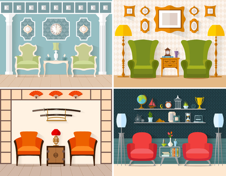 country style: Set of the interior in flat style. illustration. Collection rooms furnished in a modern, oriental, classic, country style. Design living room in different styles.