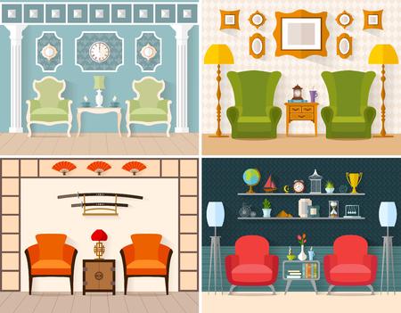 Sammlung Eingerichtete Zimmer In Einem Modernen, Orientalisch, Klassisch,  Landhausstil. Design Wohnzimmer In Verschiedenen Stilen.