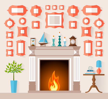 mantelpiece: The interior design of the fireplace room with different frames on the wall. illustration in the flat style. Mantel with Souvenirs and accessories. Wall decoration frames. Illustration