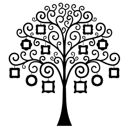Rbol con los marcos para las fotos aisladas sobre fondo blanco. ilustración. La plantilla para el álbum. Silueta de un árbol genealógico. Foto de archivo - 62120237