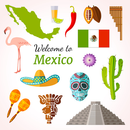 Mexico travel banner with icons, souvenirs, design elements and famous Mexican symbols.