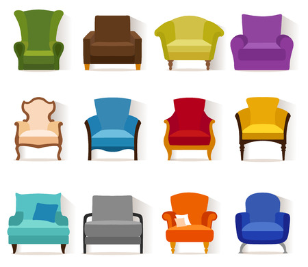 Set of different chairs in flat style. Collection icons of armchairs.