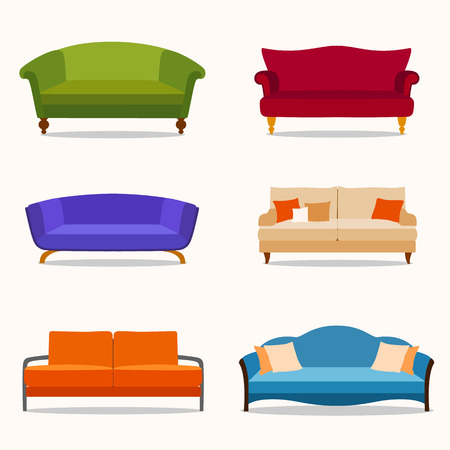 couches: A set of six couches in the flat style.