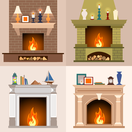 fireplaces: A set of four different fireplaces in flat style. Illustration