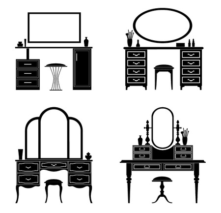 Collection of silhouettes of a dressing table. Template for stencils. A table for cosmetics.