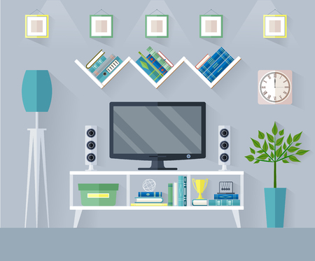 Design TV zone in a flat style. Interior living room with furniture, tv set and shelf. Illustration