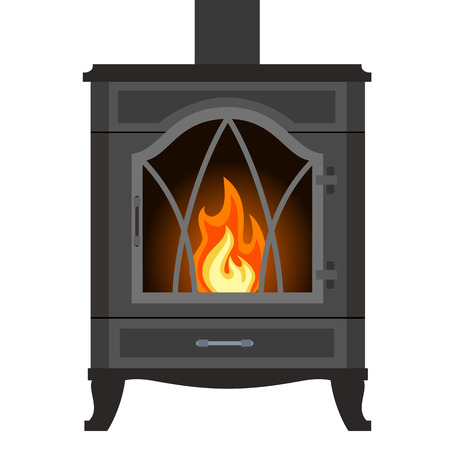 mantel: Metal fireplace in flat style isolated on white background.