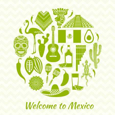 chichen itza: Mexican icons silhouettes. Set of traditional Mexican symbols. Templates and stencils for your design.