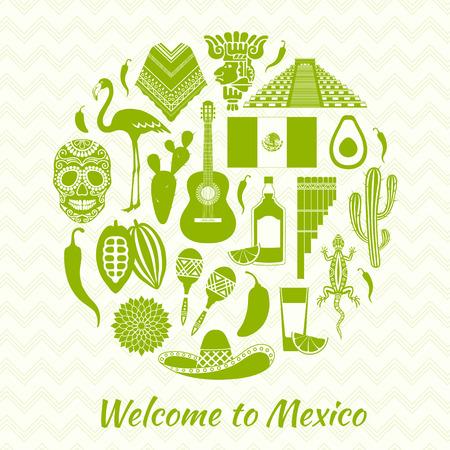 silhouettes icônes mexicaines. Ensemble de symboles traditionnels mexicains. Modèles et pochoirs pour votre conception. Vecteurs