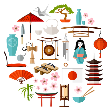 Traditioneel Japans pictogram, attributen, symbool en symbool. Items voor ontwerp in Japanse stijl.