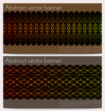 glowing skin: horizontal banners set with glowing snake skin. Effect neon glow. Template with sample text. Ethnic ornament on dark background.