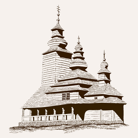Old Wooden church silhouette. Christian temple