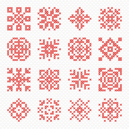 Set of cross stitch element for embroidery design. Decorative blank for frames and patterns. Cross-stitch snowflake, flower and geometric ornament.