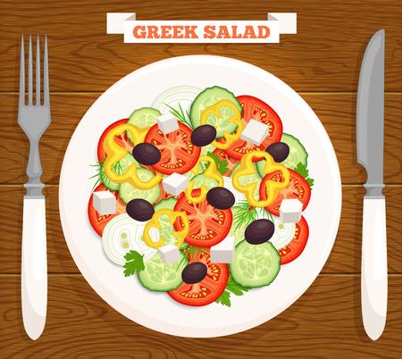 Ensalada griega en un plato, vista desde arriba. comida mediterránea se sirve en una mesa de madera con un cuchillo, tenedor y la inscripción. Ilustración de vector