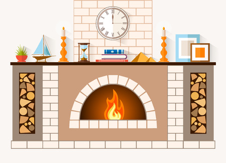 The design of the fireplace. Room with a large brick fireplace with chimney, mantel decorations and souvenirs.
