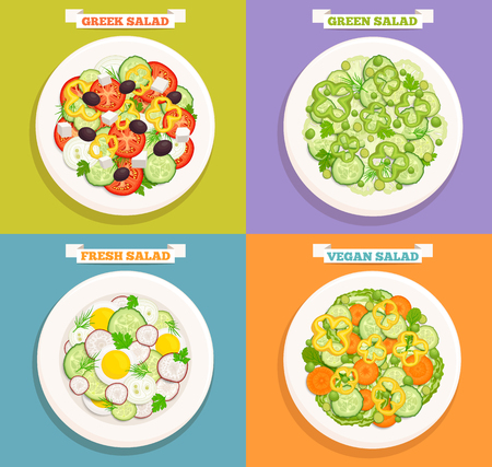 Set of different salads on plates. Icons useful food top view. Illusztráció