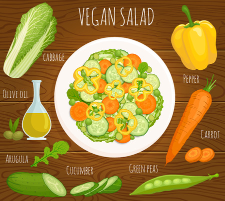 Recipe salad with ingredients. Top view. Vegan healthy salad of fresh vegetables. A plate of salad on a wooden table.