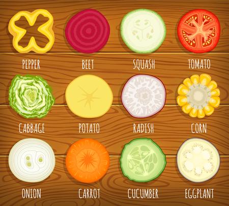 sliced: Set of sliced vegetables.