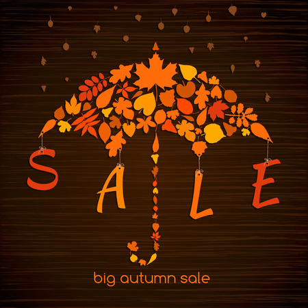laid: autumn sale banner. illustration with colorful leaves laid out in the form of an umbrella. Discount concept for Your design. Illustration