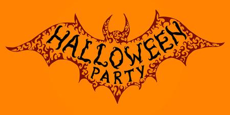 soiree: Halloween banner. Creative inscription on bat silhouette for Halloween invitation, postcard.