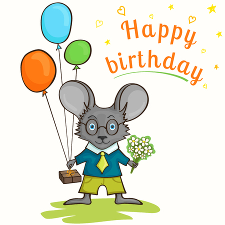 newborn rat: Cute happy birthday card with fun mouse, gifts and congratulatory inscription. Greeting card template.