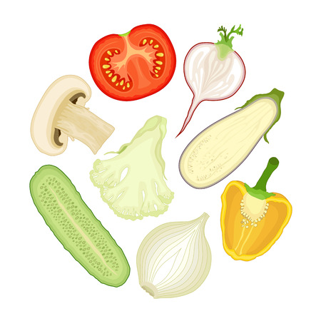 halved: Set of vegetables cut in half.