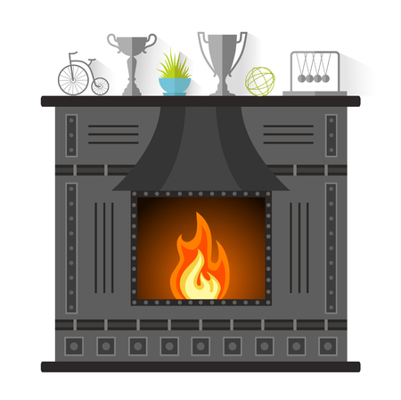 mantel: Design of the fireplace. Modern metal fireplace in the flat style.