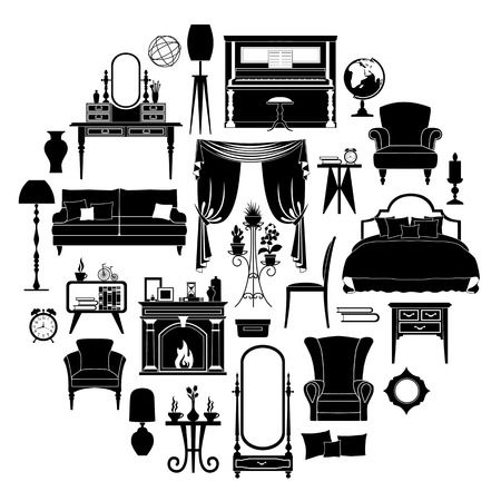 Set Of Silhouettes Of Furniture. Templates And Stencils For Your Design.  Different Furniture And