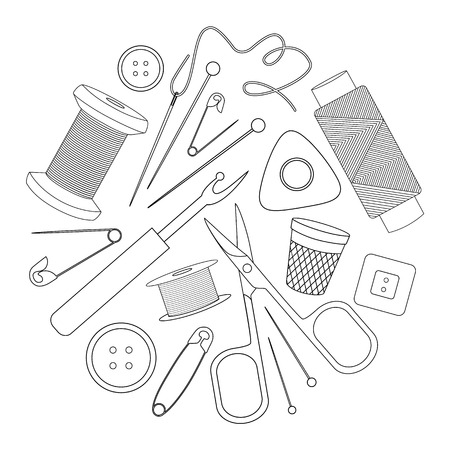Icone cucire in stile contorno.