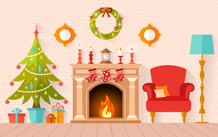 Christmas interior design with Christmas tree and fireplace. Living room decorated for the new year in flat style.